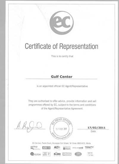 Certificate of Representation